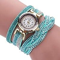 YaidaWomen Luxury Crystal Women Gold Bracelet Quartz Wristwatch Rhinestone Watches