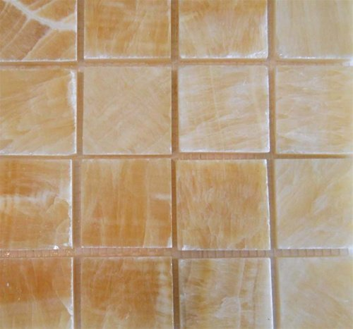 Honey Onyx 2 x 2 Polished Mosaic Tile meshed on 12 x 12 sheet - Mosaic 12x12 Sheet