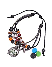 HOUSWEETY Aromatherapy Essential Perfume Oil Diffuser Locket Charm Adjustable Bracelet with 2 Refill Pads