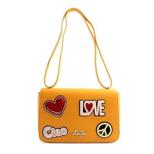 f0dd8c903a Love Moschino Borsa tracolla clutch donna pelle gialla con patch ...