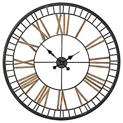 Stone & Beam Vintage Farmhouse Style Decorative Metal Wall Clock - 32 Inches, Black