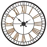 Stone & Beam Vintage Style Metal Clock, 32″H, Black For Sale