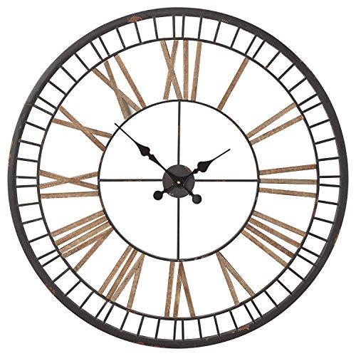 Stone & Beam Vintage Farmhouse Style Decorative Metal Wall Clock - 32 Inches, Black