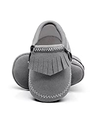 HONGTEYA Baby Boys Girls Moccasins - Premium Soft Sole PU Leather Tassel Crib Shoes for Infant Toddlers