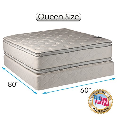 Dream Solutions Pillow Top Mattress and Box Spring Set - Double-Sided Sleep System with Enhanced Cushion Support- Fully Assembled, Great for Your Back, longlasting Comfort (Queen - ()