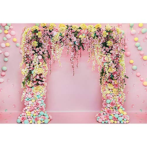 ML Pink Photography Background 7x5ft Sweety Candy Flower Arch Photo Backdrop for Girls Party Seamless