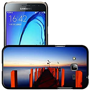 Just Phone Cases Etui Housse Coque de Protection Cover Rigide pour // M00421710 Embarcadero Pier iluminación roja de // Samsung Galaxy J3 SM-J3109