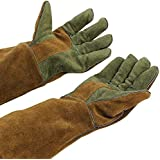 "Mig/Stick Welding Gloves,Pure Leather Heat & Fire Resistant Forge Gloves Oven Mitts,Working Protect Gloves with 16"" Extra Long Sleeves for Tig Welders/Grill/Fireplace/Stove/Garden or Animal Handling"
