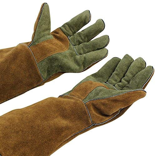 Mig/Stick Welding Gloves,Pure Leather Heat & Fire Resistant Forge Gloves Oven Mitts,Working Protect Gloves with 16'' Extra Long Sleeves for Tig Welders/Grill/Fireplace/Stove/Garden or Animal Handling by INNO STAGE