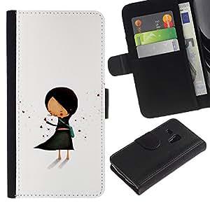 All Phone Most Case / Oferta Especial Cáscara Funda de cuero Monedero Cubierta de proteccion Caso / Wallet Case for Samsung Galaxy S3 MINI 8190 // Pastel Minimalist Black Hand Drawn
