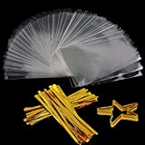 Arts & Crafts : Clear Treat Bags 200 PCS (4''by 6'') Cellophane Bag Party Favor Bags with 200PCS Twist Ties for Wedding Gift Cookie Candy