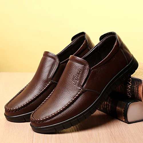 Mode Heren Slip Op Business Casual Schoen Kunstleer Mocassins Antislip Loafers Bruin