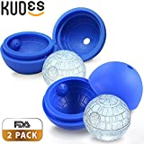 Image of KUDES 2-Pack Star Wars Death Star Silicone Sphere Ice Ball Maker Mold, Ice Mold Tray for Drinks (Blue)