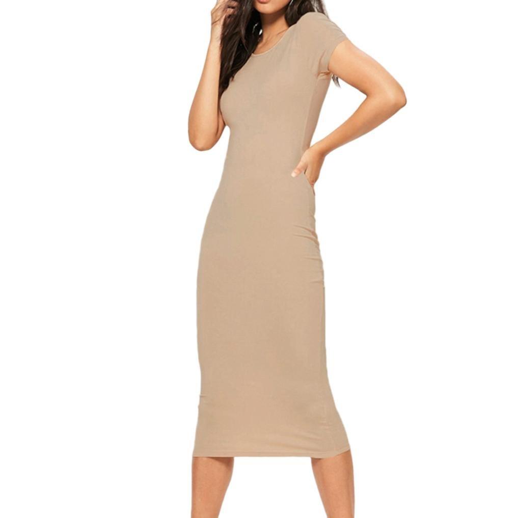 Spbamboo Sexy Women Dress Short Sleeve O Neck Casual Evening Party Bodycon Dress