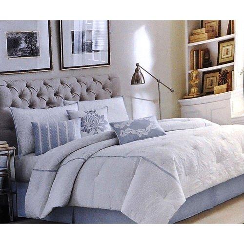 Laura Ashley Stratford 7-Piece Comforter Set, 100% Contton Bedding, King Size, Blue