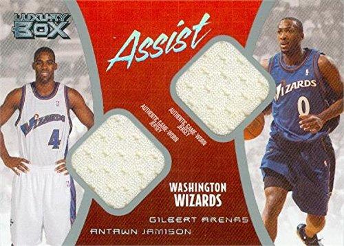 Antawn Jamison & Gilbert Arenas player worn jersey patch basketball card (Washington Wizards) 2005 Topps Luxury Box Assist #ASJA