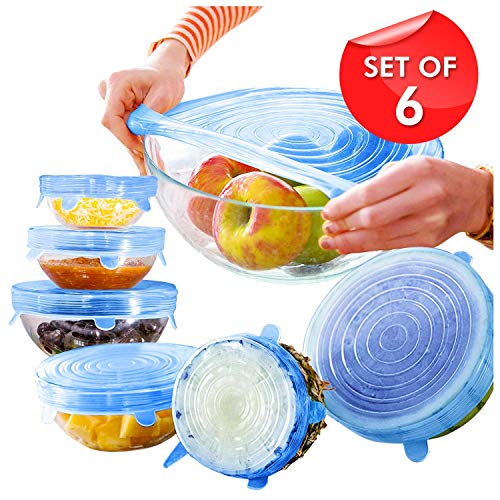 DHANIM Silicone Stretch Lids reuseable Flexible Covers for Rectangle, Round, Square Bowls, Dishes, Plates, Cans, Jars, Glassware and Mugs (Free Size) – Set of 6 Price & Reviews