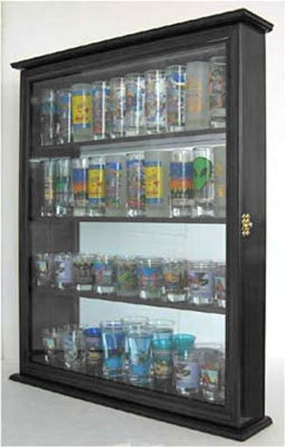 Tall Shooter Shot Glass Display Case Wall Mounted Cabinet, SC10-BLA