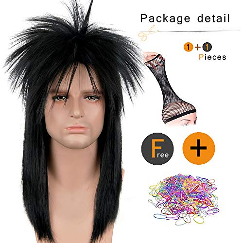 SiYi 70s 80s Wig Clothes Fashion Halloween Costume Accessory Punk Metal Rocker Mullet Wig for Men Women (3617)