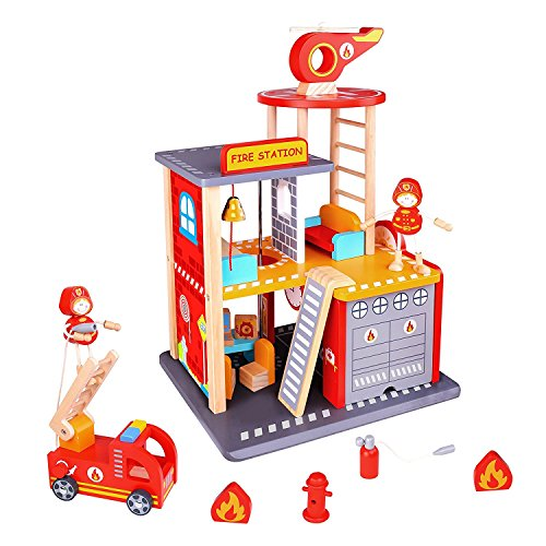 Fire Station Toy For Boys & Girls – Fire House Toy Story Box Playset - Wooden Toys For Toddlers & Kids – Station, Firetruck, Firemen & Accessories