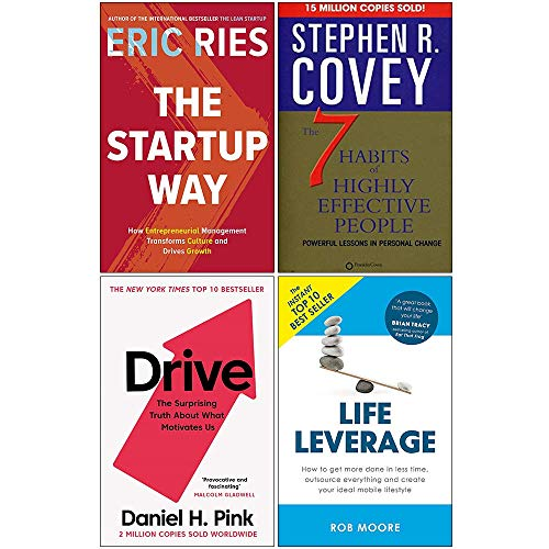 Price comparison product image The Startup Way,  7 Habits of Highly Effective People,  Drive Daniel Pink,  Life Leverage 4 Books Collection Set