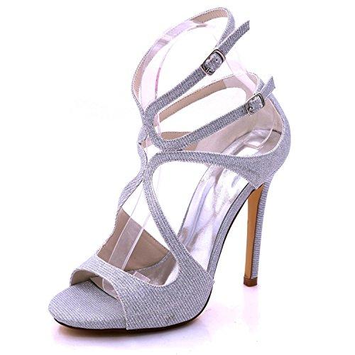 Sandalias De Dama Honor yc 06c Mujer L Alto Abierta Zapatos Punta D7216 Tacón Silver Para UwSCxwZT4q
