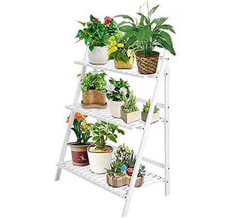 Escalera para macetas, Escalera para Flores, estantería de Madera, estantería de 3 Niveles, Escalera para Flores, Escalera para Plantas, Escalera para Interior, jardín, 70 x 40 x 96 cm: Amazon.es: Jardín