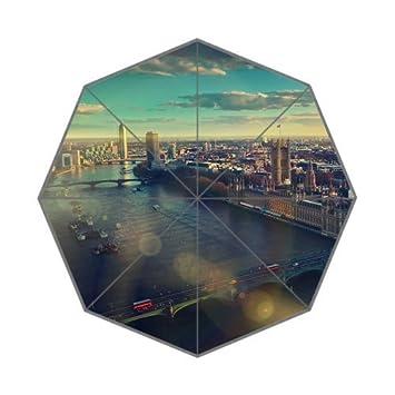 rainbowrain Inglaterra Londres Ciudad Skyview Custom plegable lluvia sol paraguas de Golf paraguas 8 varillas viajes