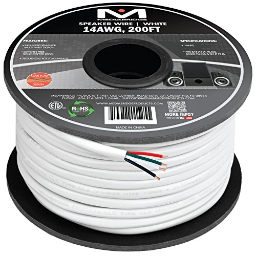 Mediabridge 14AWG 4-Conductor Speaker Wire (200 Feet, White) - 99.9% Oxygen Free Copper - ETL Listed & CL2 Rated for In-Wall Use (Part# SW-14X4-200-WH ) by Mediabridge