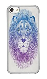 Apple Iphone 5C Case,WENJORS Cute Face of a Lion Hard Case Protective Shell Cell Phone Cover For Apple Iphone 5C - PC Transparent