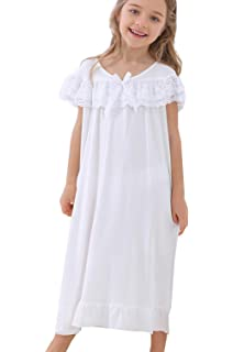 148b6a22b937 PUFSUNJJ Lovely Girls Princess Nightgown Soft Cotton Sleepwear Kids 3-12  Years