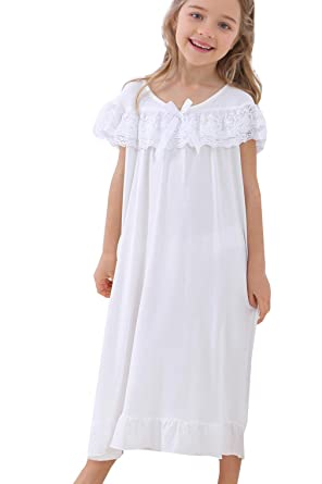 PUFSUNJJ Lovely Girls Princess Nightgown Soft Cotton Sleepwear Kids 3-12  Years Cream 49b2a953c