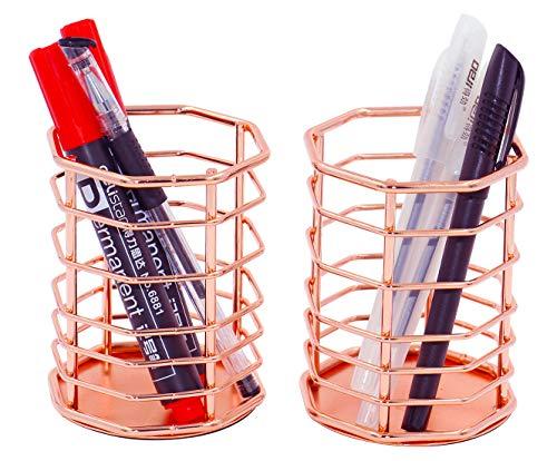 Copper Holder - PAG Rose Gold Pencil Holders Cup Metal Wire Pen Organizer Makeup Brush Holder for Desk, Set of 2