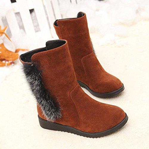 Kaicran Womens Boots Vinterstøvler For Damer Varme Ankel Boots Varm Vinter Sko Brun