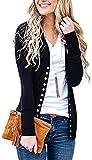 Bigyonger Womens Cardigan Sweater Open Front Button Down Lightweight Long Sleeve Knitwears