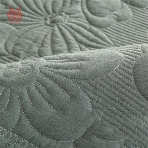 PlenTree Green Floral Embroidery quted ofa Over otton Lip for lig Room nit etional ouh P4894  Green per pi, 70m70m