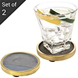 MyGift Set of 2 Retro Style Clay Drink Coasters with Brass-Tone Rim