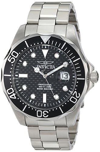 Invicta Men's 12562X Pro Diver Black Carbon Fiber Dial Stainless Steel Watch ()