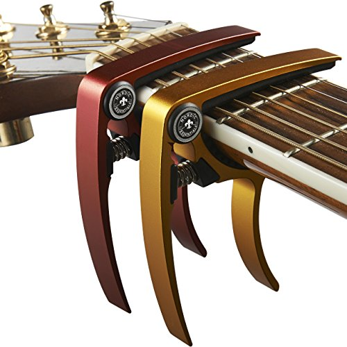 Guitar Capo (2 Pack) for Guitars, Ukulele, Banjo, Mandolin, Bass - Made of Ultra Lightweight Aluminum Metal (1.2 oz!) for 6 & 12 String Instruments - Nordic Essentials, (Red + Gold)