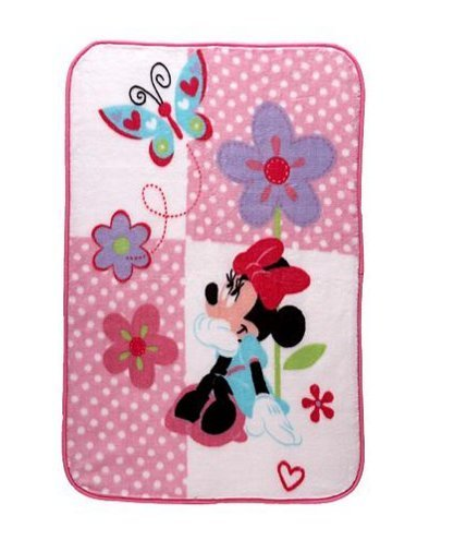 Disney Baby Minnie Mouse Ultra Plush Flowers, Butterflies, and Hearts Blanket by Disney   B01A97FNQO