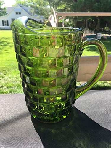 Indiana Glass Glass Pitcher - Vintage Indiana Whitehall Green Pitcher