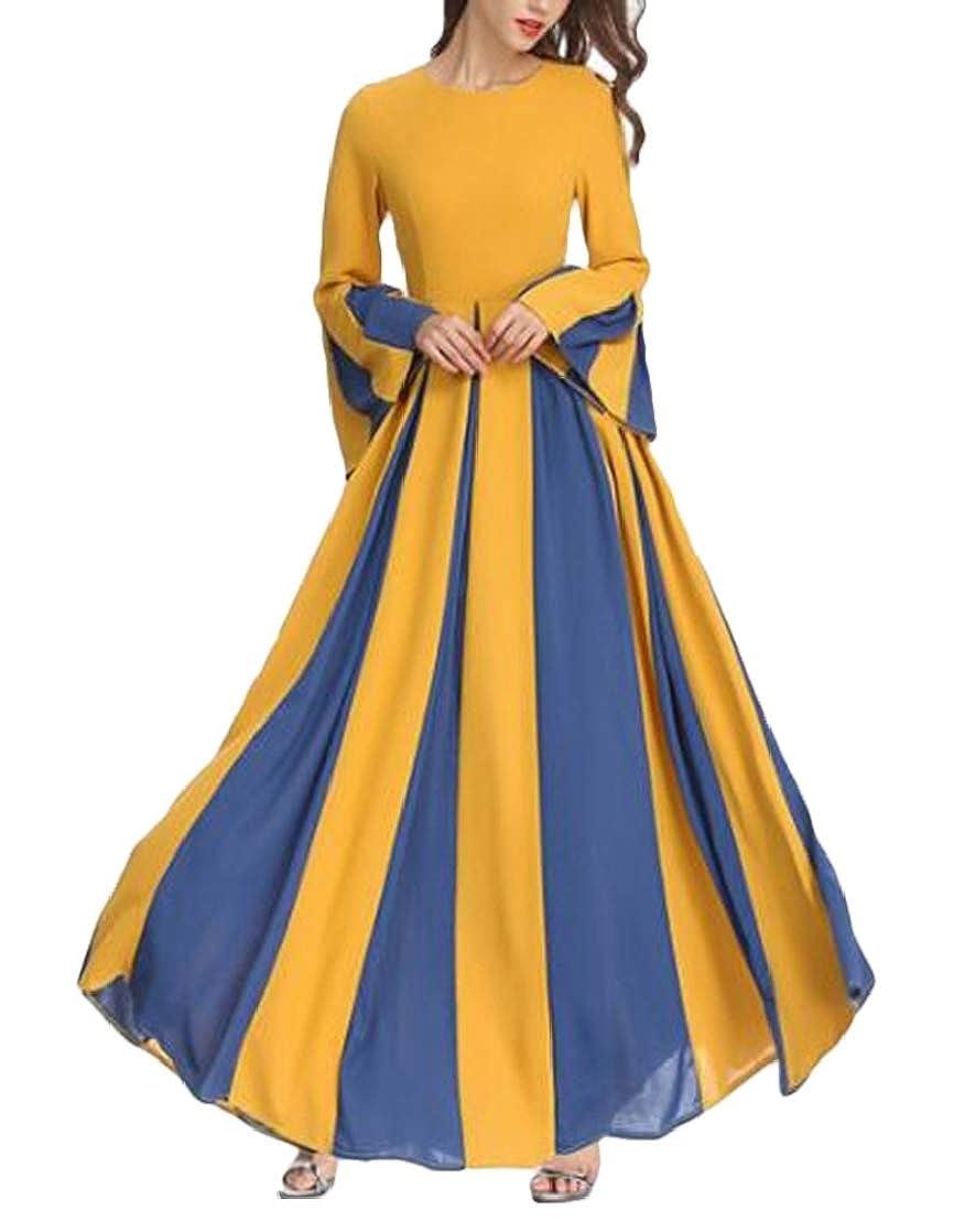 KLJR Women Chiffon Muslim Trumpet Sleeve Color Block Big Hem Maxi Dress
