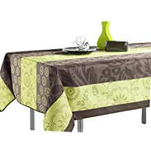 "60 x 95-Inch Rectangular Tablecloth Green and Brown Summer Flowers, Stain Resistant, Washable, Liquid Spills bead up, Seats 8 to 10 People (Other Size Available: 63"" Round, 60 x 80"", 60 x 120"")."