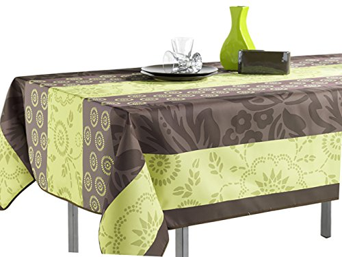 60 x 80-Inch Rectangular Tablecloth Green and Brown Summer Flowers, Stain Resistant, Washable, Liquid Spills bead up, Seats 6 to 8 People (Other Size Available: 63