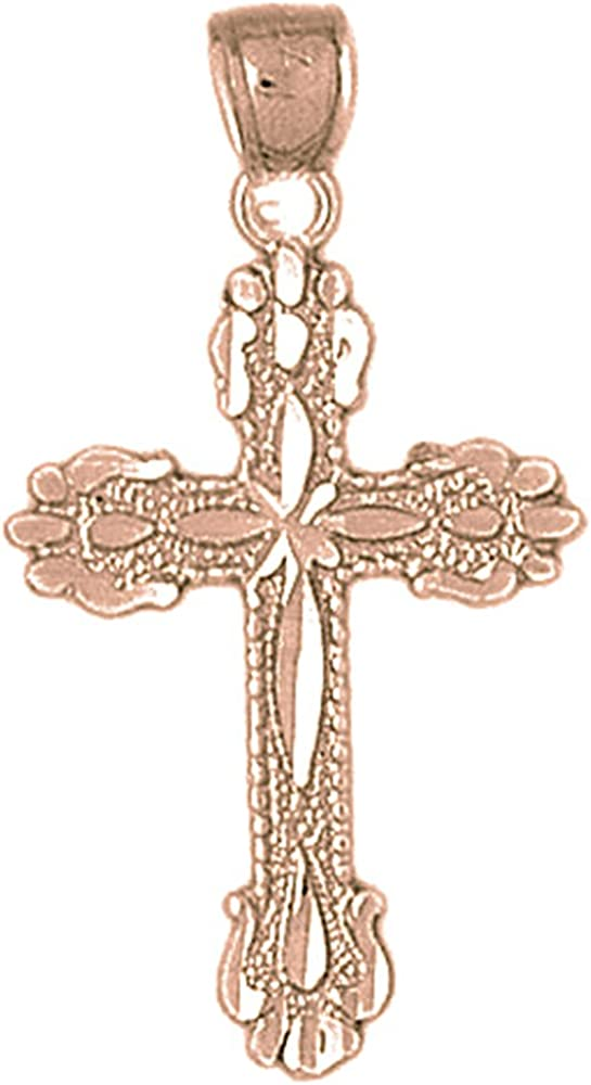 36 mm Jewels Obsession Solid 14K Rose Gold Cross Pendant