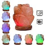 Niubity Himalayan Pink Natural Salt Lamp,USB Light Wooden Base Himalayan Crystal Rock Salt Lamp Air Purifier Night Light (Rose)