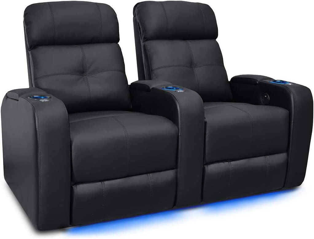 Valencia Verona Premium Top Grain 9000 Leather Power Recliner LED Lighting Home Theater Seating (Row of 2, Black)