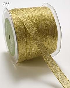 May Arts Ribbon - Cinta de lamé de 12mm, 3m de longitud (cortada de un rollo), color oro