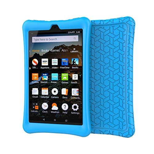 Translucent Blue Silicone Skin Case - Silicone Case Compatible Amazon Kindle Fire HD 8 2016/2017 Protective Shell Skin Silicone Case Cover (Blue)