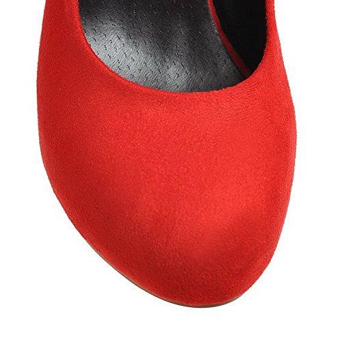 on Pyöreitä Pumput kengät Amoonyfashion Himmeä Pull Naisten Solid toe Punainen Korkokenkiä xxwpI
